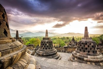 Sunset at Borobudur Temple, Indonesia